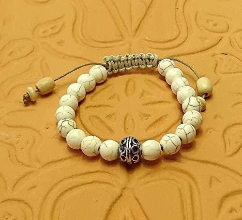 Glücksarmband aus Keramik Türkis Perlen mit glücksbringer, tibetischer Perle Unisex, Sabijou