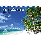 Strandzauber DIN A3 Kalender für 2021 Strand und Strände - Geschenkset Inhalt: 1x Kalender, 1x Weihnachts- und 1x Grußkarte (insgesamt 3 Teile)