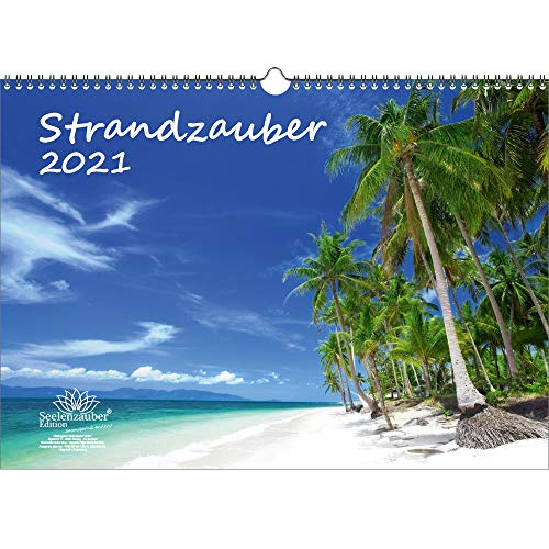 Strandzauber DIN A3 Kalender für 2021 Strand und Strände - Geschenkset Inhalt: 1x Kalender, 1x Weihnachtskarte (insgesamt 2 Teile)