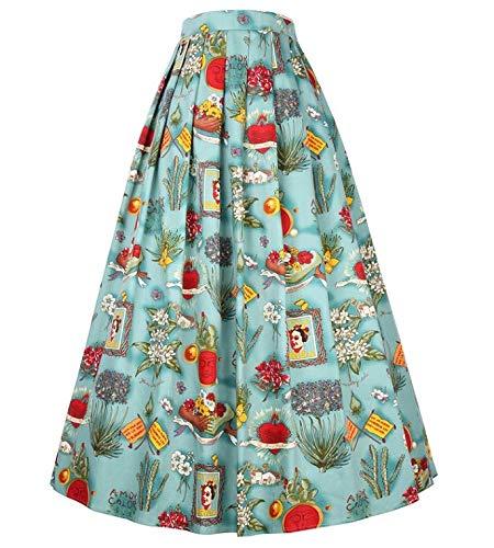 NVDKHXG Belle Poque Vintage Blumendruck Lange Röcke Frauen Hohe Taille Ballkleid Plissee Skater Midirock Sommer Saia Frauen Rock XL Midirock 3