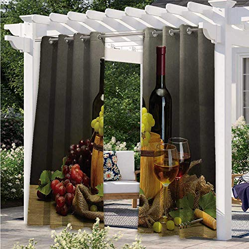 Outdoor Patio Curtains Barrel Uv Protectant Indoor Outdoor Curtain for Bedroom, Porch, Pergola, Cabana Bottles and Glasses of Wine and Ripe Grapes on Wooden Table Decorative Picture W120 x L96 Inch