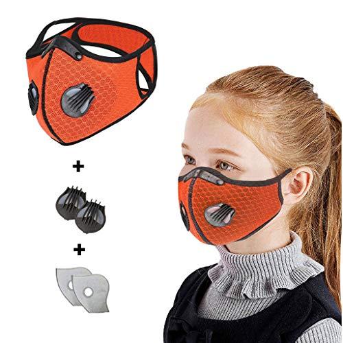 JINLILE Mundschutz Kinder mit Filter Ventil, Waschbar Mund und Nasenschutz für Jungen Mädchen, Schlauchschal Wiederverwendbar Atmungsaktiv Gesichtsschutz Halstuch(1 Stück + 2 Filter + 2 Ventil)