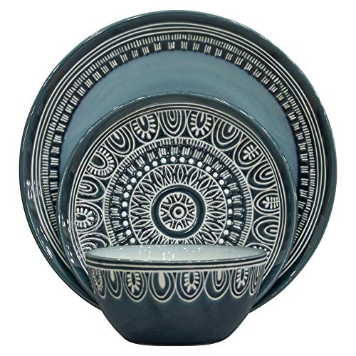 Better Homes and Gardens Teal Medallion 12-Piece Dinnerware...