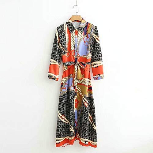 SYDGJLYQ langes Kleid Herbst 2019 Druck Damen Hemd Frauen 60er Tuniken Party Kleid Designer Marke