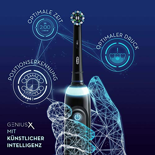 Oral-B Genius X Elektrische Zahnbürste, mit künstlicher Intelligenz und Premium Lade-Reise-Etui, schwarz
