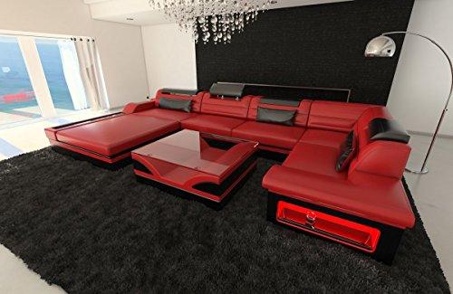 Sofa Dreams Leder Wohnlandschaft Mezzo U Form rot-schwarz