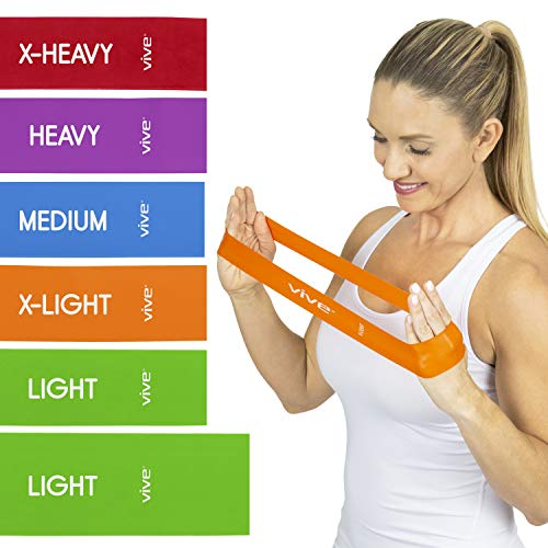 Vive Loop Bands (6 Pack) - Multi Resistance Straight Elastic Set - Stretch Kit for Men, Women, Toning Hip, Butt, Arm, Leg, Booty, Physical Therapy Yoga, Pilates Strength Training - Gym, Home Workout