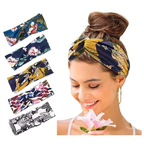 Catery Boho Headbands Criss Cross Headband Headpiecce Bohemia Floal Style Head Wrap Hair Band Vintage Stylish Elastic Fabric Hairbands Fashion Hair Accessories for Women(Pack of 5) (Boho)