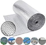 Dripex Isolant Thermique en Aluminium a Bulles Double Face Isolation 3-4mm pour radiateur sol toit mur, reflecteurs de chaleur isolant thermoréfléchissant-1.0x10M