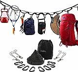 phinacreny Cordón portátil de 189 pulgadas, con 4 clips de alambre, 8 mosquetones en forma de D, utilizado para camping, senderismo, accesorios de tienda al aire libre