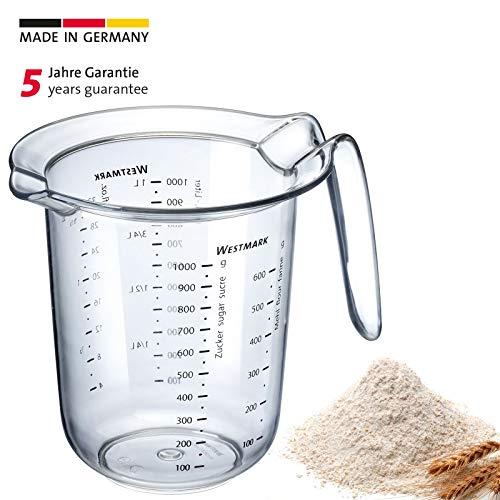 Westmark Messkanne mit mehrsprachigen Messskalen und verschiedenen Maßeinheiten, Füllvolumen: 1 Liter, Kunststoff, Transparent, 30652270