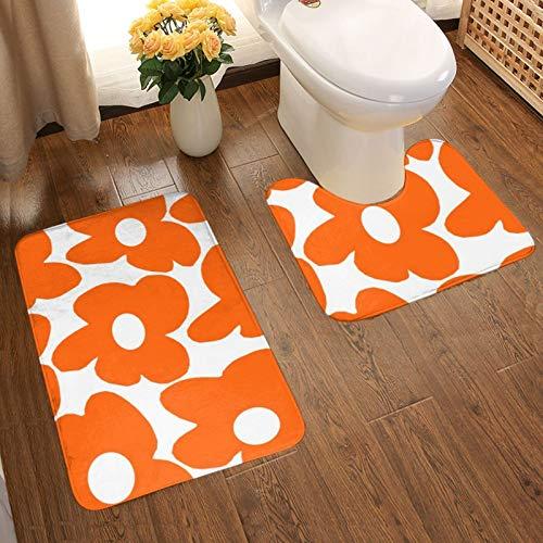 Alfombra de baño de color naranja retro flores blancas decoración de baño antideslizante almohadilla de inodoro suave franela antideslizante 2 piezas