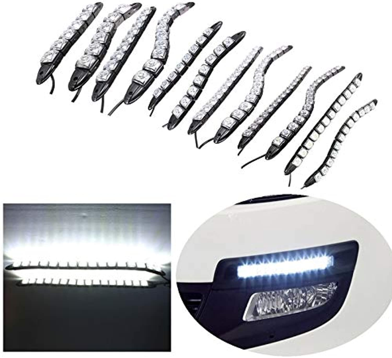 Gift4Car  Universal 6 8 9 12 14 16 LED Super White Waterproof Flexible DRL Daytime Running Light Driving Fog Warning Lamp DC12V