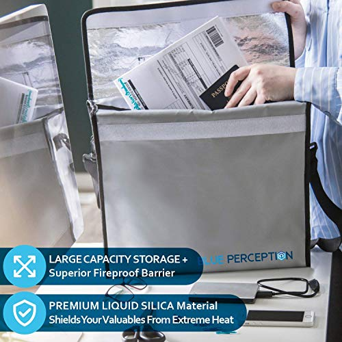 "BLUE PERCEPTION Fireproof Document Bags, Premium Waterproof and Fireproof Safe Money Bag up to 1832°F, Large (15""x12""x5"") Fire Proof Water Proof Safe for Important Documents, Cash, Valuables, Passport"