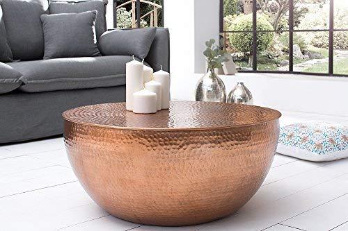 DuNord Design Couchtisch Beistelltisch Scale 60cm Kupfer rund Hammerschlag Design Alu Aluminium Tisch