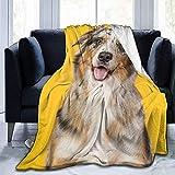 Biubiu-Shop Manta de vellón Manta de Felpa Suave de Perro de Pastor Australiano Manta de Franela de 60 x 80 Pulgadas para Dormitorio Sala de Estar Sofá Cama Sofá