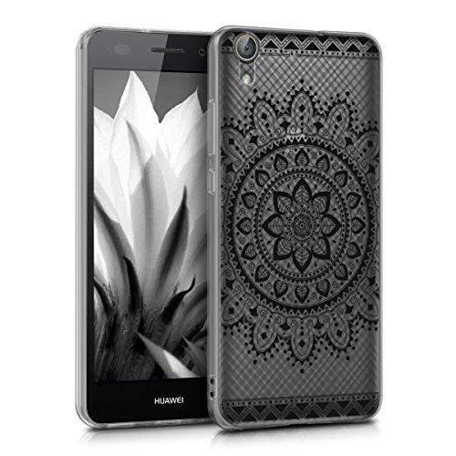 kwmobile Funda Compatible con Huawei Y6 II - Carcasa de TPU y Flores Aztecas en Negro/Transparente