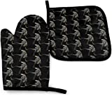 YANGXIN T-Rex Kitchen Oven Mitt and Potholders Kitchen Set, Heat Resistant Non-Slip Oven Glove for Cooking Baking Grilling and BBQ