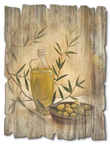 Artland Wandbild aus Holz Shabby Chic Holzbild rechteckig 30x40 cm Hochformat Stillleben Italien Toskana Oliven Zitronenbaum Mediterran T4HV