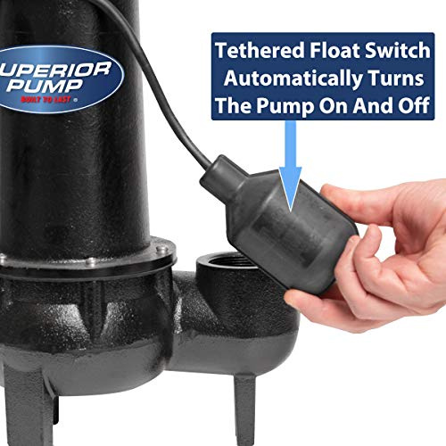 Superior Pump 93501 1/2 HP Cast Iron Sewage Pump with Tethered Float Switch, 0.5, Black/Silver