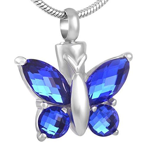 Collar de urna de mariposa para cenizas – Colgante de recuerdo conmemorativo de joyería de...