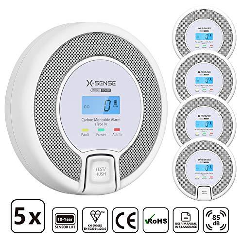 X-Sense CO Melder mit Digitalanzeige, Kohlenmonoxidmelder, akkurater Sensor mit 10-Jahren Lebensdauer, Batterie austauschbar, BSI Zertifiziert nach EN 50291, CO03D (5 Stücke)