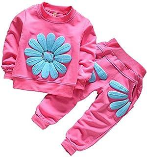 2 Piece Set for Girls - Child Fashion - Sports Suit - Soft Fabric - Top & Pants - Flower Design