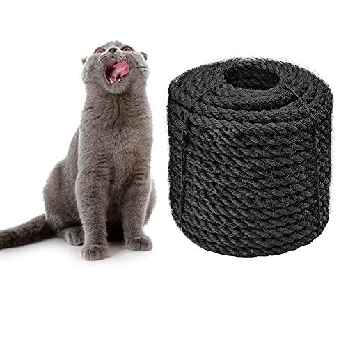 CAThrone Sisalseil 6mm für Katze Scratcher Katzenkratzbaum reparieren und ersetzen, DIY Kratzmöbel - Kratzbaum, Kratzteppich & Matte, Kätzchen Kicker Spielzeug, Schwarz 30m/98ft