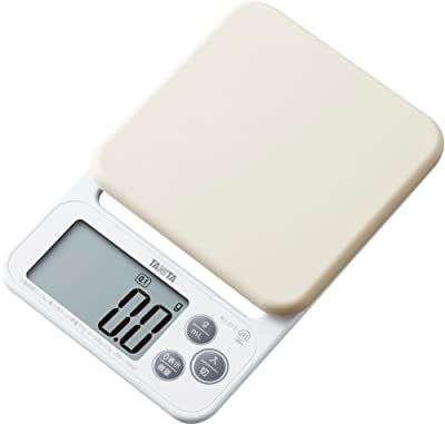 タニタ クッキングスケール キッチン はかり 料理 シリコンカバー付き デジタル 2kg 0.1g単位 ホワイト KJ-212 WH カバーが洗える
