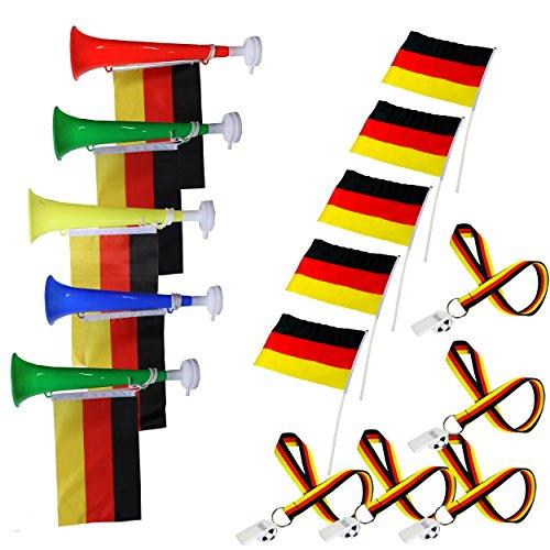 SchwabMarken Handball WM Weltmeisterschaft Tröte Horn Fahne Flagge. Viele Verschiedene Fanartikel Sets, Hier Set 08 Trompete, Tröte, Ballons, Trillerpfeife, Armband, Stirnba