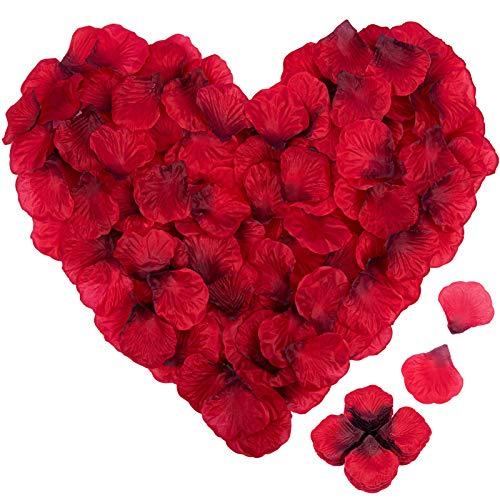 IDEALHOUSE 4000 Stück Rosenblätter, Rosenblüten Rosen Blätter Blüten Kunstblumen Seidenblumen für Hochzeit Deko, Valentinstag, Taufe, Geburtstag Party Dekoration, Romantische Atmosphäre (Dunkelrot)