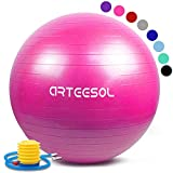 arteesol Gymnastikball 45cm/55cm/65cm/75cm Yoga Ball Auti Burst Core Gymnastikball mit Schnellpumpe...