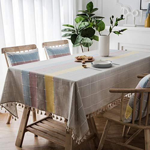 QPM Drie-tone Plaid Decoratief Linnen Tafelkleed Kwastje Waterdicht Oliebestendig Rechthoekig Bruiloft Eettafel Thee Tafelkleed