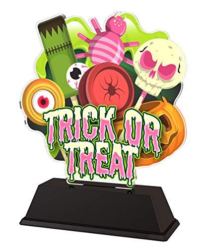 Trophy Monster Halloween Trick or Treat Award Bulk Gift Deal | para Fiesta de niños | Hecho de acrílico Impreso (160 mm)
