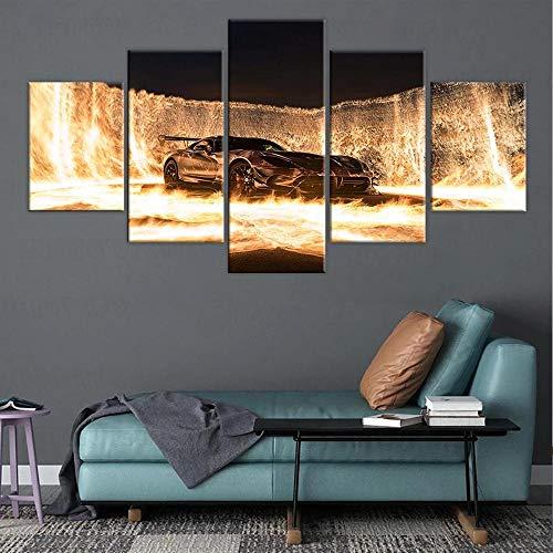 QWASD Grande Cuadro Abstracto sobre Lienzo Modernos Impresión De Imagen Pared 5 Piezas Sala Estar Dormitorio Moderno Decoración Wall Art Canvas Coches Mercede-Ben Z Amg GT
