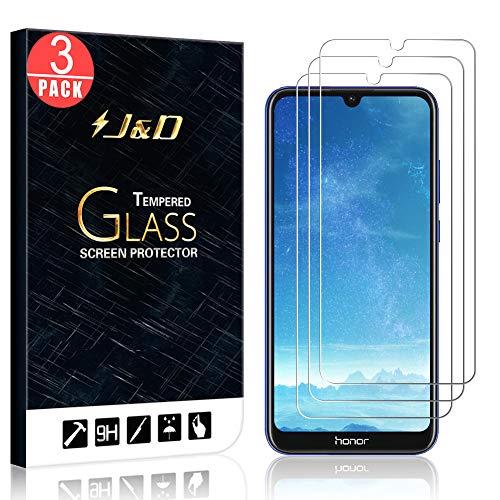 J&D Kompatibel für Huawei Honor 8A 2020 Panzerglas Schutzfolie, 3er Packung [Vorgespanntes Glas] [Nicht Ganze Deckung] Glas Displayschutz für Huawei Honor 8A 2020 Panzerglas Displayschutzfolie