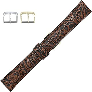Made in The USA - Genuine Leather Watch Band Strap - American Factory Direct - Heat Embossed Western Print - Gold and Silver Buckles Included – Real Leather Creations