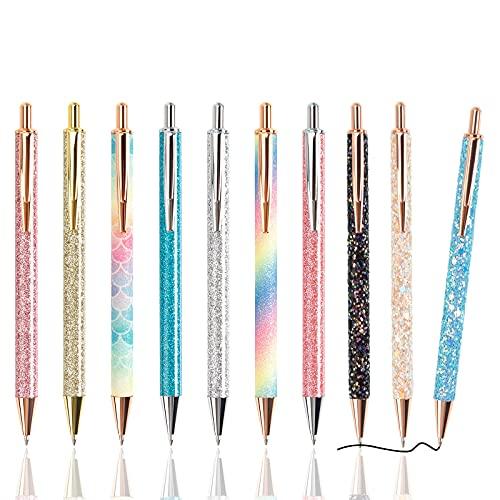 zhaibiao-us 10 bolígrafos con purpurina de metal retráctil con purpurina para niños