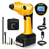 CKIECK Cordless Car Tire Inflator Portable Air Compressor Pump with Rechargeable...