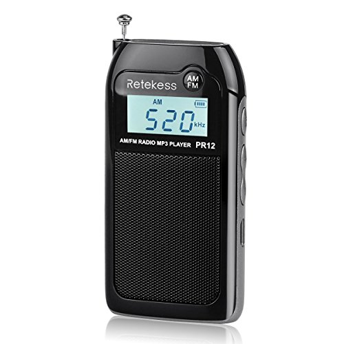 Retekess PR12 Mini AM FM Radio, Portable Pocket Radio, Walkman radio with SD Card, Clear Display and Earphone Jack for Jogging and Gym(Black)