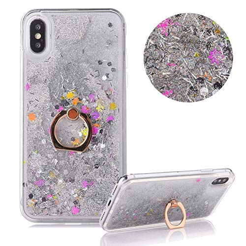 Hard Plastic Case for iPhone XS,Glitter Liquid Case for iPhone X,Moiky Luxury Silver Colorful Stars Diamond Quicksand Glitter Sequins with 360 Degrees Stand Ring Holder Slim Plastic Case