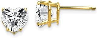 14k Yellow Gold 2.4ct. 7mm Heart Moissanite Studs Earrings