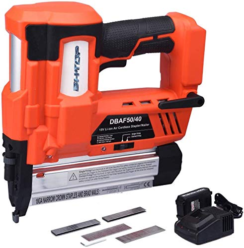 BHTOP Cordless Nailer & Stapler- 2 in 1 18Ga Heavy Tool With 18Volt 2Ah Lithium-ion Rechargeable Battery Air Cylinder(Charger and Carrying Case) (With 1 Battery)
