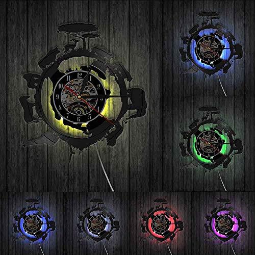 Africano animales salvajes paisaje moderno diseño selva animales reloj de pared África puesta del sol decoración de la pared vintage vinilo record reloj de pared luces LED