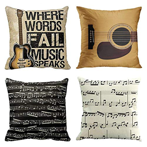 Emvency Set of 4 Throw Pillow Covers Music Guitar Where Words Fall Speaks Vintage Spruce Top Decorative Pillow Cases Home Decor Square 18x18 Inches Pillowcases