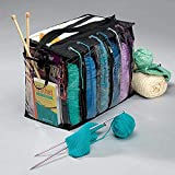 Mekbok Knitting Organizer By 18 x 11 x 1 inches: Portable Knitting Yarn Storage Bag With Multiple Pockets, Individual Compartments, Carrying Shoulder Strap - Clear Plastic Tote Bag For Needles, Crochets & Threads