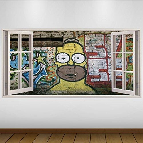 LagunaProject EXTRA GROßE Gelb Graffiti Homer Simpson Kultur 3D Vinyl Sticker Poster Wandsticker Wandtattoo Wandbild Wanddeko -140cm x 70cm