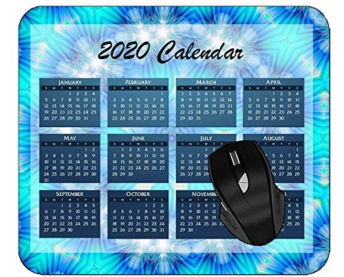 Mouse Pad 2020 Calendar Colorful Kaleidoscope Graphic Abstract Digital Art Material Color Art Blue Colorful Year 2020 Calendar Mouse Pad