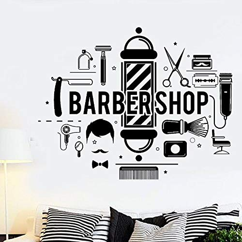 WTTTL sticker mural autocollant muralBarbershop Hair Wall Decal Barbershop Style Various Tools Vinyl Wall Mural Modern Design Hair Logo Wall Decor 57 * 45 cm