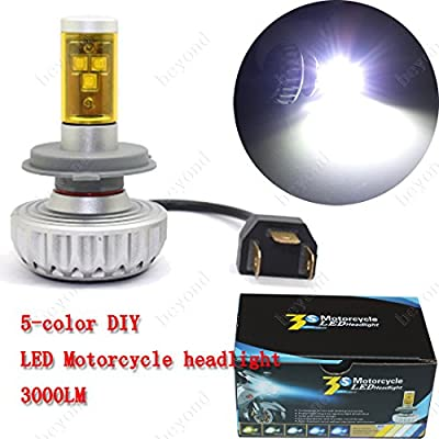One week Clearance sales : Newest fanless all in one DIY 5 color cree motorcycle/motorbike/Moped/Scooter/ATV LED headlight kits for DC/AC headlight